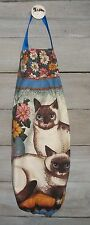 Siamese Cats Flowers Plastic Grocery Bag Rag Sock Holder Handmade by HCF&D