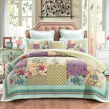 DaDa Bedding Pastel Fairy Garden Bohemian Floral Patchwork Quilted Bedspread Set
