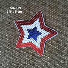 USA Flag Design Star Iron-on Emblem Patriotic Badge Patch American Applique