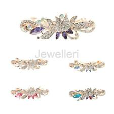 Women Crystal Rhinestone Lotus Flower Hairpin Barrette Girls Ladies Hair Clip