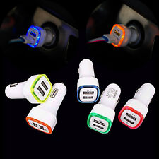 LED Light Double 2 Port USB 5V 2.1A+1A Car Charger Power Adapter For iPhone Lot