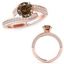 1.25 Ct Champagne Color Diamond Filigree By Pass Solitaire Ring 14K Rose Gold