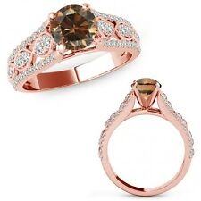 1.25 Ct Champagne Color Diamond Lovely Solitaire Halo Ring Band 14K Rose Gold