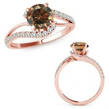 1 Carat Champagne Color Diamond By Pass Solitaire Halo Ring Band 14K Rose Gold