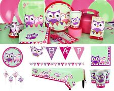 Owl Girls Birthday Party Supplies Pink Tableware Plates Napkins Cups Loot Invite