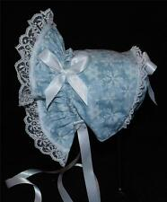 New Handmade Ice Blue with White Snowflakes Christmas Baby Bonnet