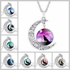 New  Fashion Vintage wolf Cabochon Tibetan silver Glass Chain Pendant Necklace