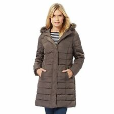 Maine New England Womens Taupe Faux Fur Hood Trim Padded Coat From Debenhams