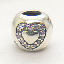 Authentic S925 Silver Surrounded by Love Heart Pink CZ Charm