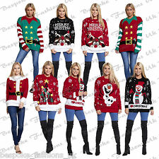 Ladies Xmas Novelty Santa, Reindeer Print Long Sleeve Jumper Sweatshirt Top