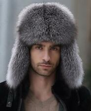 Men's Winter Black Hat Real Fox Fur&Lamb Leather Russian Ushanka Cossack Trapper