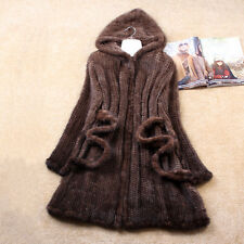 UK Real Knitted Mink Fur Long Coat Jacket Hooded Tailor-made Gift for Your Lady