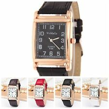 New Men Women Wrist Watch Leather Band Quartz Analog Square Dial