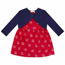 Baby Girls 2 piece set Pink Dress and Navy Shrug Cardigan Fox Motif by Mini Moi