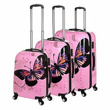 Travel Suitcases Luggage PINK Butterfly Motifs Hard Case Bag 4 wheels 360 Rotate