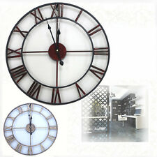 Large Vintage Wall Clock Metal Industrial Iron French Provincial Antique SYDship