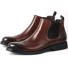 ###Mens genuine Leather Brogue Wingtip Mens Formal Dress shoes ankle Boots New