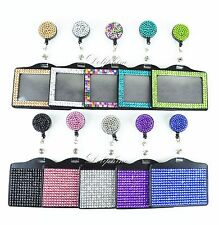 Full Bling Rhinestone 2 IN 1 Horizontal ID Badge Holder with Retractable Reel