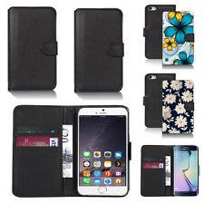 black faux leather wallet case cover for apple iphone models design ref z296
