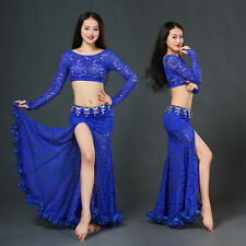 New 2016 Lace Women Belly Dance Costumes 2Pics Long SleeveTop&Long Skirt