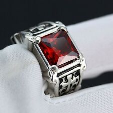 925 Silver Natural 3.7CT Ruby Cross Ring Women Wedding Engagement Size6 7 8 9 10