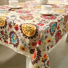 Classic Tablecloth Cotton&Linen Floral Tablecover Rectangle Square Table Cover