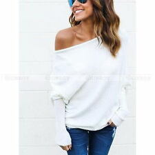 Womens Autumn Off Shoulder Bat Wings Loose Pullover Knitted Sweater Knit Jumper