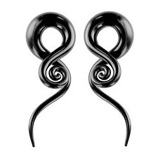Pair of Glass Tapers 0G - 6G Single Twist Black Pyrex with Spiral End