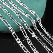 Simply Fashion Silver Chain Italy Figaro Necklace 16-30 inch 2mm Jewelry