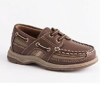 Sonoma Boys Boat Shoes Brown multi Laces Man made kids size 12 NEW