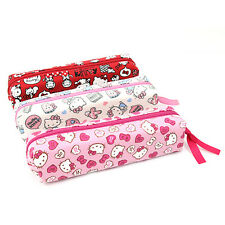 Sanrio Hello Kitty Canvas Pencil Case Stationary Pouch Heart Ribbon Kitty Pink