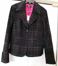 TALBOTS Plus Jacket Coat Blazer Plaid Wool Blend-Black Gray Red 22 W NWT