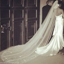 hot sole White Ivory 1T cathedral wedding bridal veil scattered crystal & comb