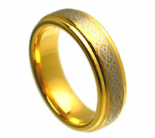 6mm Ladies Gold Tungsten Carbide Celtic Knot Loyalty Wedding Band Ring