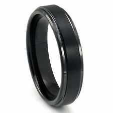 6mm Ladies Tungsten Carbide Black Brushed Finished Domed Wedding Band Ring