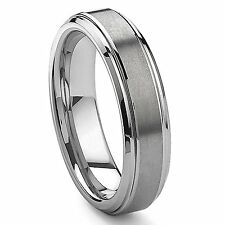 6mm Ladies Tungsten Carbide Matte Brushed Finished Domed Wedding Band Ring