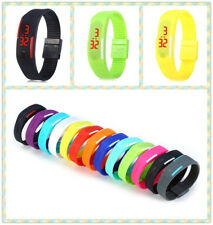LED Watch Date Digital Rubber Sports Wristband Rectangle Dial 12 Colors Choices