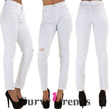 Ladies Womens High Waisted Ripped Knee Skinny White Denim Jeans Plus Size 10-20