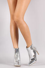 Metallic Pointy Toe Stiletto Booties High Heel Ankle Boots - Mirror Silver