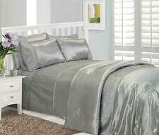 SILVER STYLISH CRINKLE TEXTURED FAUX SILK DUVET COVER LUXURY BEAUTIFUL BEDDING