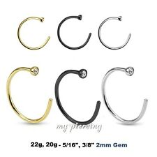 """1PC. 22g, 20g~5/16"""", 3/8"""" Anodized 316L Surgical Steel with C.Z. Nose Hoop Ring"""