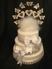 glitter butterfly heart wedding feather trims anniversary cake topper or set