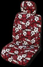 Red Hibiscus Surf Hawaiian Separate Headrest Cover