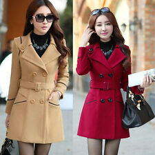 Fashion Women Winter Trench Warm Coat Slim Casual Double Breasted Jacket Outwear