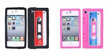 Funny Retro Cassette Tape Silicone Back Case for iPhone 4 4S Black and Hot Pink