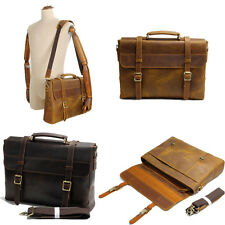 Men Retro Genuine Leather Briefcase Attache Case Messenger Shoulder Bag Daypack
