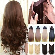 US Straight Curly Secret Wire Headband Piece Clip in Hair Extensions Brown Black