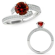 1 Carat Red Color Diamond Filigree By Pass Solitaire Wedding Ring 14K White Gold