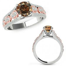 1 Ct Champagne Color Diamond Lovely Solitaire Halo Ring Band 14K Two Tone Gold
