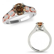 1 Ct Champagne Color Diamond Filigree Solitaire Halo Ring Band 14K Two Tone Gold